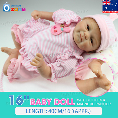 "16""40cm Reborn Baby Toy Soft Silicone Vinyl Gentle Touch Newborn Girl Doll"