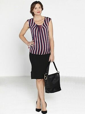 Maternity Stripe Work Top & Black Stretchy Pencil Skirt Outfit