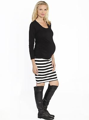 Maternity Casual Outfit: Black Long Sleeve Top & Stripe Skirt Set