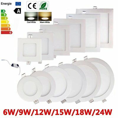 10x 6W 9W 12W 15W 18W 24W Dimmable LED Recessed Ceiling Panel Down Light Bulbs##