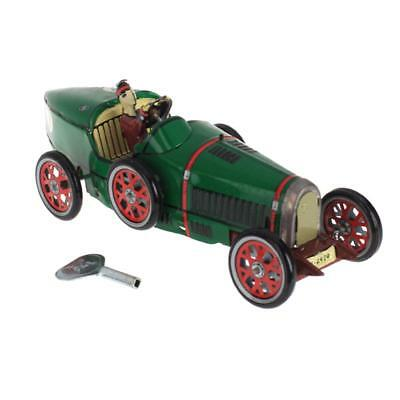 CLOCKWORK Wind up Roadster Racing Car racer with driver Tin Toy Collectible