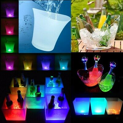Various LED Ice Cooler Bucket Party Bar Wine Drinks Box Christmas Decor 3.5L-10L
