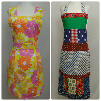 VTG Bib Aprons Lot Of 2 Handmade Funky Bright 60s Floral Reversible Patchwork