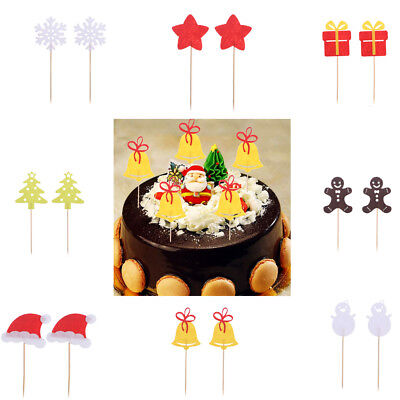 50pcs Snowflake Cupcake Muffin Cake Topper Pickers Wedding Christmas Party