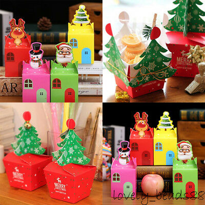 5/10Pcs Xmas Cake Sweets Candy Box Wedding Favour Party Chocolate Gift Christmas