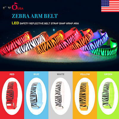 Leopard Bicycle LED Safety Reflective Belt Strap Wrap Arm  Band Shine Armband