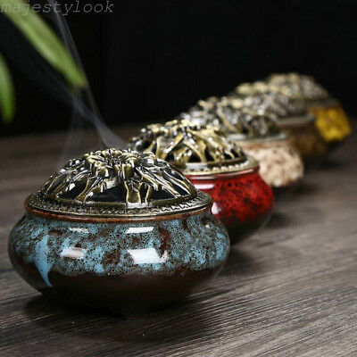 Ceramic Alloy Cover Incense Burner Holder Flower Statue Censer For Sticks & Cone