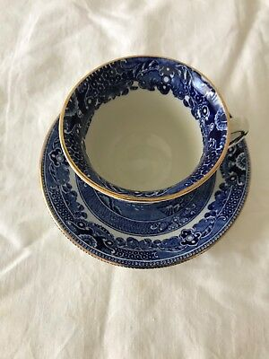 Burleighware Willow Made In England Blue & White Gold Gilt Trim Tea Cup & Saucer