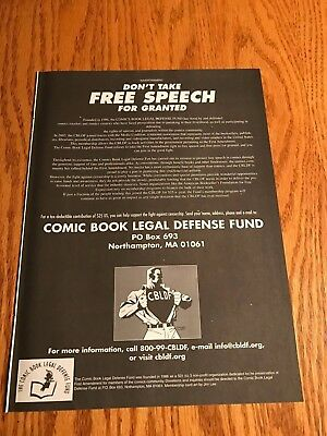 2003 8X11 B&W PRINT Ad FOR COMIC BOOK LEGAL DEFENSE FUND FREE SPEECH FOR GRANTED