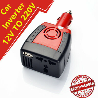 12V DC to 220V AC 150W Car Power Inverter Laptop Adapter Cell Phone USB Charger