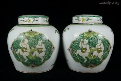A Pair Chinese Beautiful Famille Rose Porcelain Characters Tea Caddies