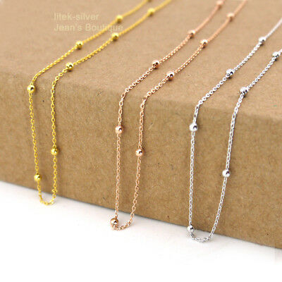 925 Sterling Silver Tiny Bead Choker Chain Necklace A2517