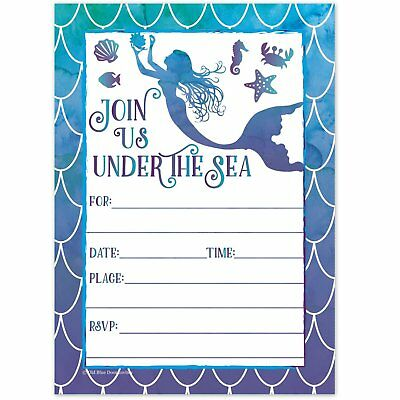Mermaid unicorn pool party birthday invitations summer pool party mermaid watercolor birthday party invitations for girls summer pool party kids filmwisefo