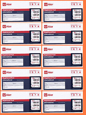 Ten Registered Post Prepaid Envelopes for International Postage up to 500g