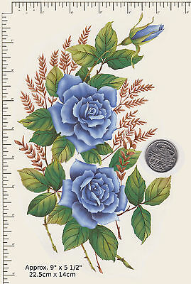 "1 x Waterslide ceramic decal Blue rose floral spray 9"" x 5 1/2"" PD32a"