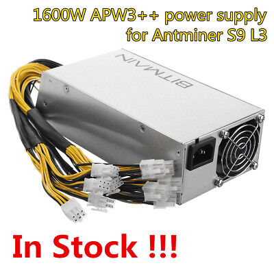 Original Antminer APW3++ PSU 1600 Watt Power Supply For Antminer S9 L3 In Stock