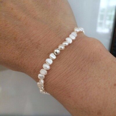 White Freshwater Pearl Stretch Bracelet Sterling Silver Tiny Bead Designer Gift