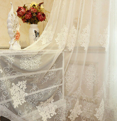 White Embroidered Sheer Light Inlet Tulle European Voile Curtain Luxurious Drape