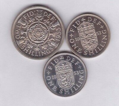 1953 Florin, English And Scottish Proof Shillings In Near Mint Condition