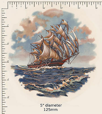 "1 Vintage Holland Waterslide ceramic decal 5"" dia. Galleon Sailing ship Sea G3"