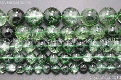 Natural Crystal Quartz Rock Gemstone Round Beads 4mm 6mm 8mm Green Chlorite 16""