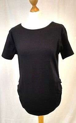 Black  Maternity Short Sleeve T-shirt Top Stretch Ruched Sizes 12, 14, 16 and 18
