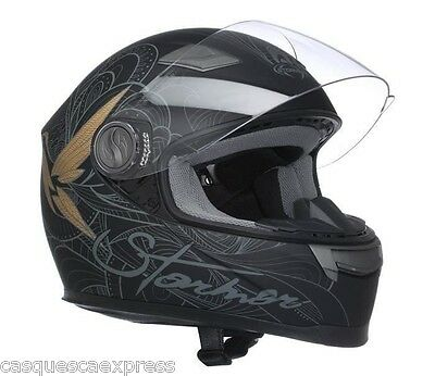 Casque Scooter Moto Integral Stormer Humming Bird Or