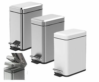 Showerdrape 5lt Cube Square Soft Close Pedal Bathroom Bin White Stainless Steel
