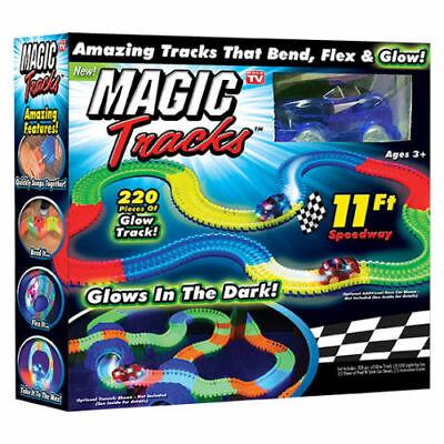 Magic Tracks 220 Piece Glowing Track Set Fast Cars 11FT Speedway Glow Bend
