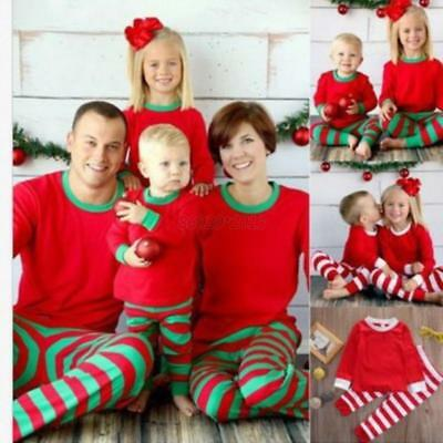 AU Family Christmas Mom Dad Kids Long Sleeve Tops+Pants Sleepwear Xmas Pajamas