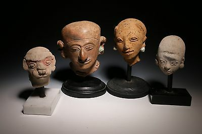 Pre-Columbian Hollow Pottery Heads - La Tolita-Tumaco Culture Lot Of Four