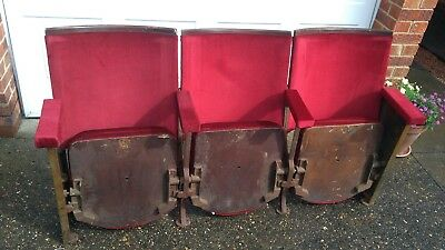 Trio Of Art Deco Vintage Cinema Seats From 1921- Aisle Ends & With Provenance