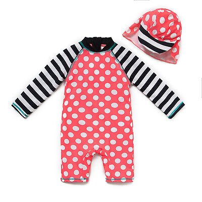 Bonverano Baby Girl's Long Sleeve UPF 50+ Sun Protection Swim Suit