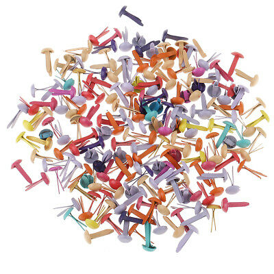 200x Mixed Color Metal Iron Brads Paper Fasteners Paper Craft 5.5x11mm