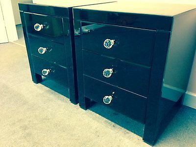 Set of Two Black Venetian/Glass Bedside Tables/Cabinets - 3 Drawers