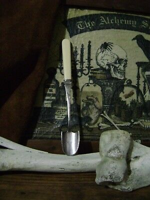 ANTIQUE SILVER APOTHECARY SPOON vintage scoop BARKER BROS old used OCCULT