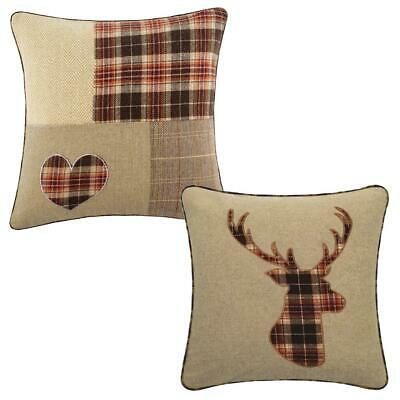 Tartan 18 inch Brown & Latte Check Cushion Cover Owl, Stag, Heart, Dog, Hare