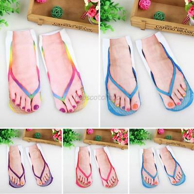 Unisex Women Men 3D Flip Flops Print Funny Casual Boat Socks Low Cut Ankle Socks