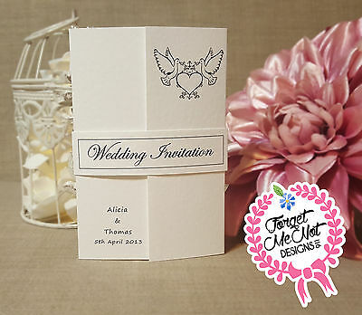 Personalised Handmade Gate fold wedding invitations with belly bands- BUDGET