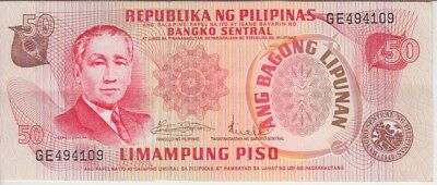 PHILIPPINES BANKNOTE P#163a 50 PISO VERY FINE-EXTREMELY FINE