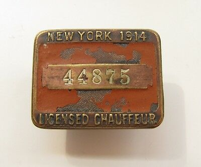 Antique 1914 New York City State Auto Taxi Driver Licensed Chauffeur Badge