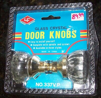 ONE set of Fluted Crystal Glass Passage Door Knobs (2 knobs per set) with shaft