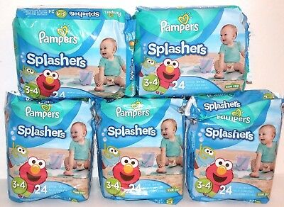 5 Packs Pampers Splashers Disposable Swim Pants Diapers 3-4 16-34 Lbs 24 Pcs