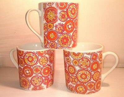 (3) Schmid Porcelain Mugs 1960 PAINTED MEDALLIONS ORANGE RED YELLOW ON WHITE