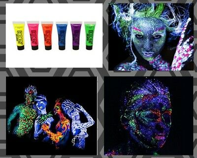 Neon Glow In The Dark Face And Body Paint UV Halloween Party Makeup 6 Colors set
