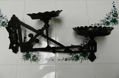 Vintage Cast Iron Double Plant Hanger Holder Swivel Bracket Black Victorian
