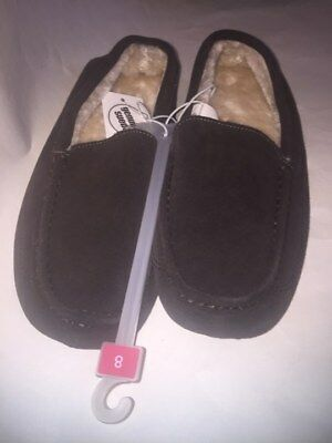 Mens Mossimo Genuine Suede Moccasin Slipper Shoes Brown Size 7 -NEW