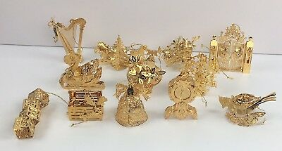 Danbury Mint 1999 23K Gold Christmas Ornaments Collection Complete Box Set of 12