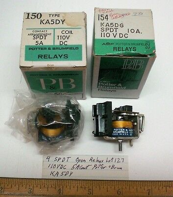 4 Open Relays,  110V DC Coils, 5A Cont. Potter&Brumfield # KA5DY, Lot 127, USA