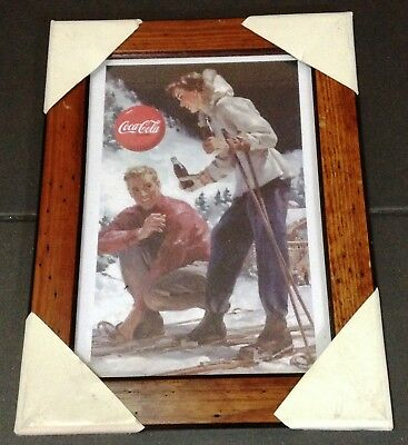 Coca Cola Stampa Originale Con Cornice In Legno Winter Collection 1 Of 4 Snow